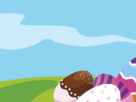 happy easter eggs painted in the field vector illustration design