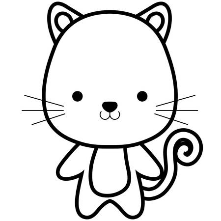 cute and little cat character vector illustration design