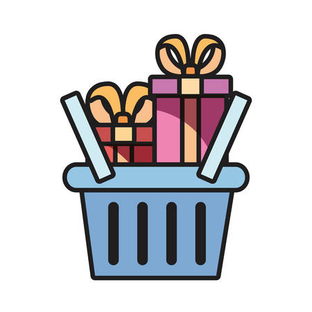 online shopping basket gift boxes vector illustration
