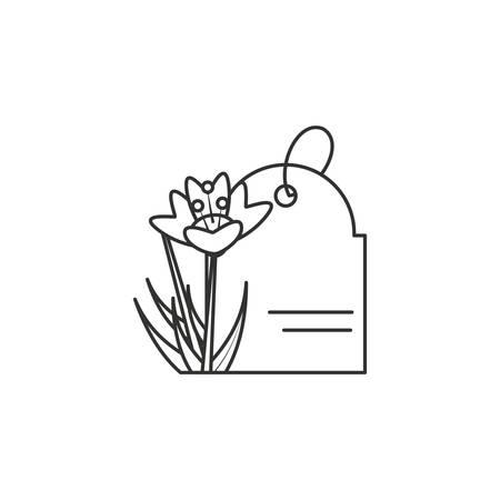 natural flower with tag commercial vector illustration design Иллюстрация