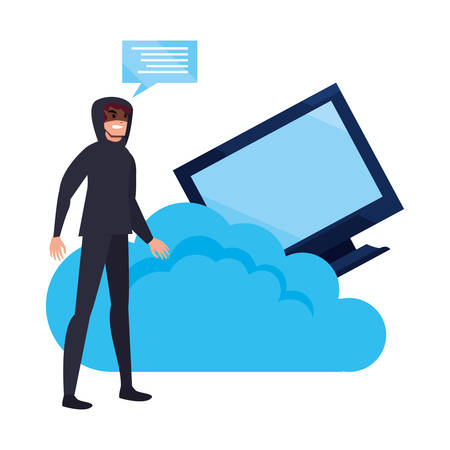 hacker computer cloud computing cybersecurity data protection vector illustration Ilustrace