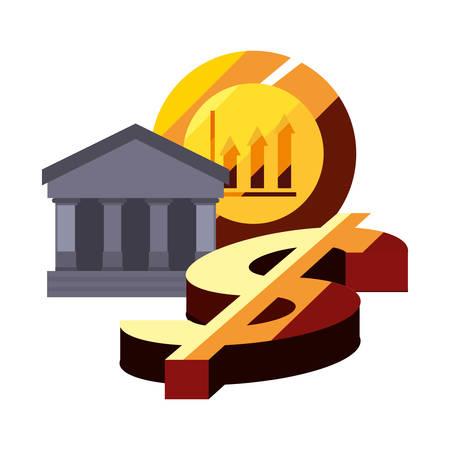 bank coin dollar sign graph vector illustration