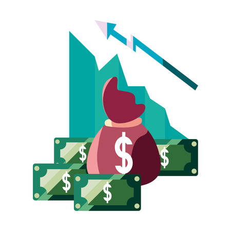 growth bag money banknotes business vector illustration