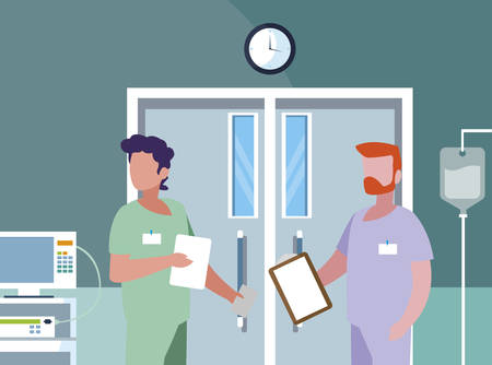 male medicine workers in operating theater vector illustration design