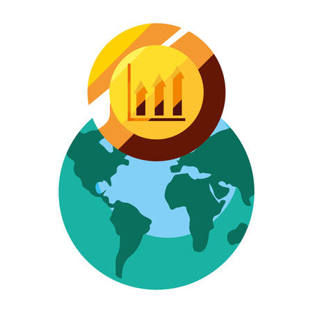 world coin graph report business vector illustration 일러스트
