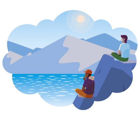 men couple contemplating horizon in lake and mountains scene vector illustration  イラスト・ベクター素材