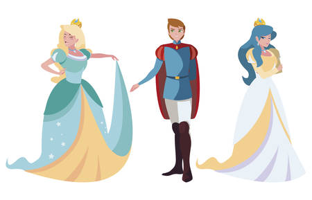prince charming and two princess of tales characters vector illustration design