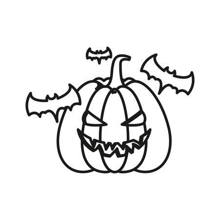 halloween pumpkin and bats around over white background, vector illustration Zdjęcie Seryjne - 130066064