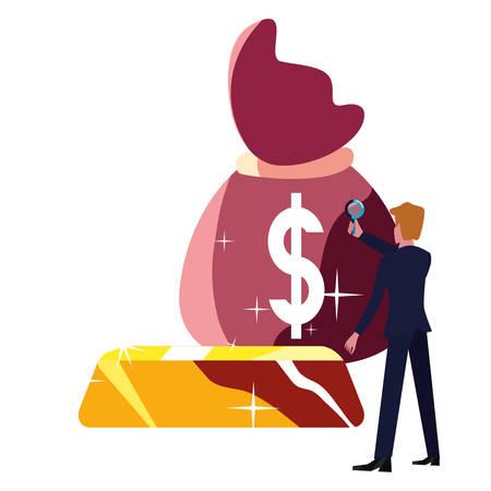businessman money bag gold bar vector illustration Illusztráció