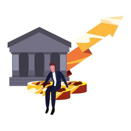 businessman money bank coins arrow vector illustration