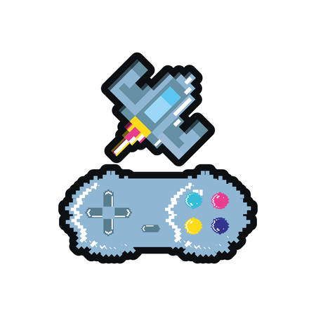 video game spaceship flying with control pixelatedvector illustration design