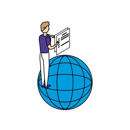 businessman worker with sphere browser and documents vector illustration design Illusztráció