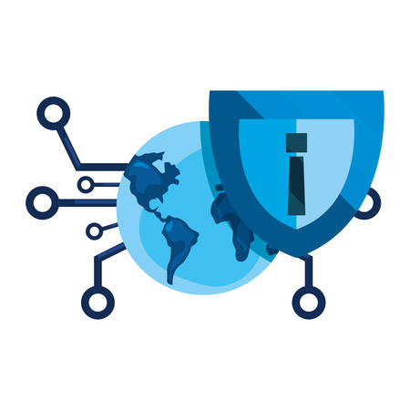 world connection shield cybersecurity data protection vector illustration Reklamní fotografie - 130135113