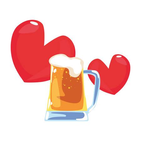 beer love hearts happy fathers day vector illustration Иллюстрация
