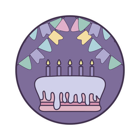 cake of birthday in frame circular with garlands hanging vector illustration design