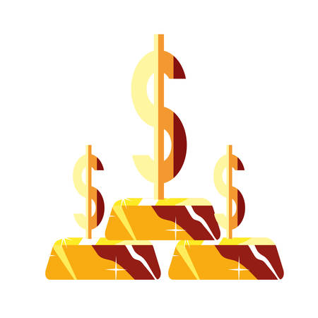 gold bars stack dollar symbol vector illustration Stok Fotoğraf - 130074489