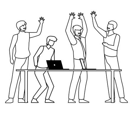 group of businessmen in the office scene vector illustration design 일러스트