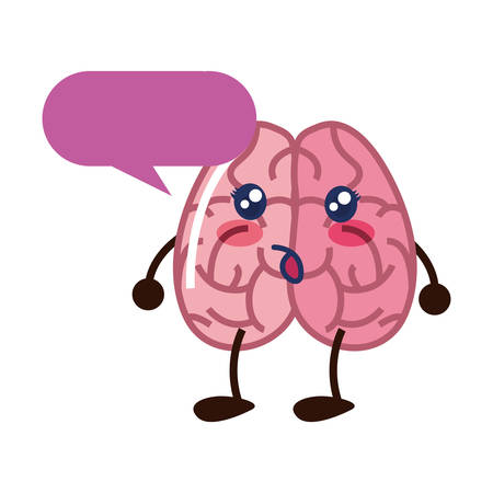 brain cartoon speech bubble creativity vector illustration