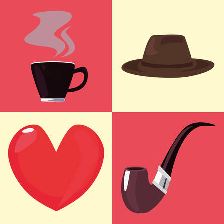 happy fathers day set hat coffee cup pipe heart vector illustration