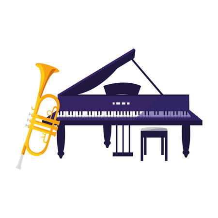 trumpet and grand piano instruments musical vector illustration design