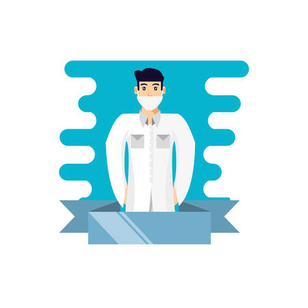 doctor professional with ribbon vector illustration design