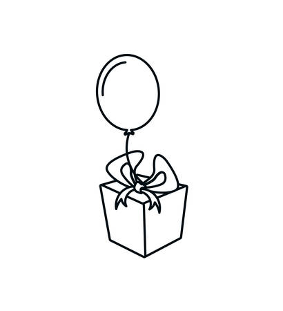 gift box present with balloon helium vector illustration design Stock Illustratie