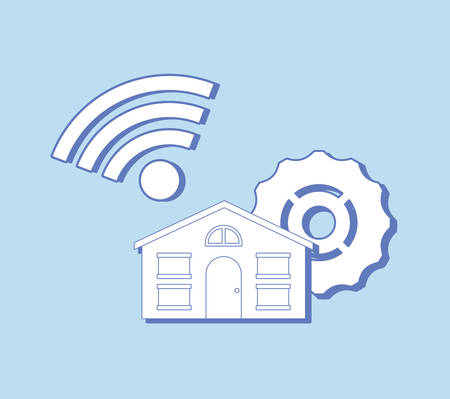 house with gear wheel and wifi symbol over blue background, colorful design. vector illustration