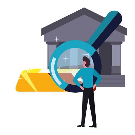 businessman magnifier gold bar bank vector illustration vector illustration Ilustracja