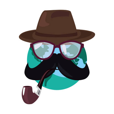 world with mustache pipe and hat happy fathers day vector illustration