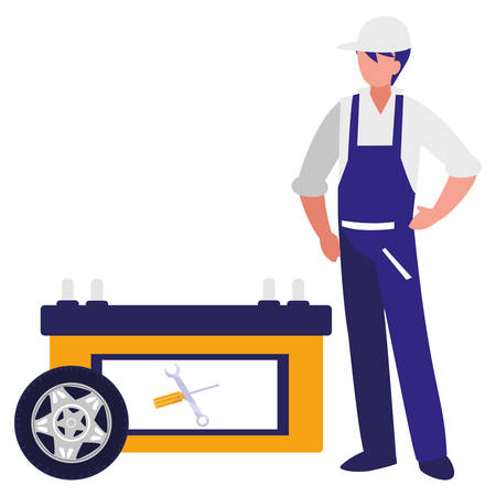 mechanic worker with tire car and repair tools vector illustration design