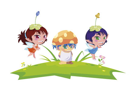 beautiful magic fairies with fungu elf in the garden vector illustration design Ilustracja