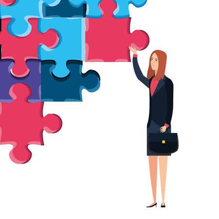 business woman with puzzle pieces vector illustration design Ilustração
