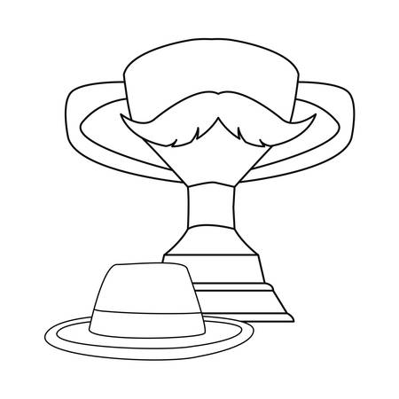 award trophy hat mustache happy fathers day vector illustration Ilustração