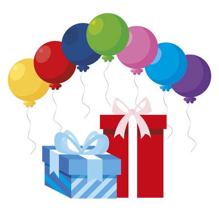 gift box present with balloons helium vector illustration design Stock Illustratie