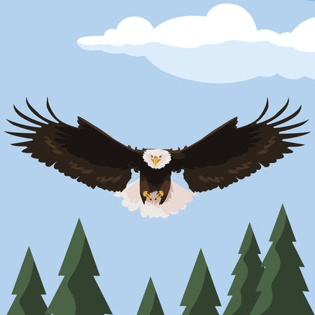 beautiful bald eagle flying in the landscape vector illustration design