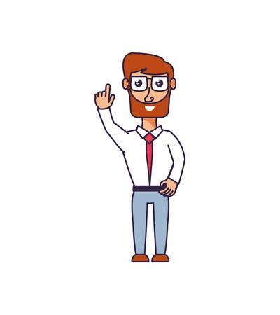 businessman elegant with hand up vector illustration design