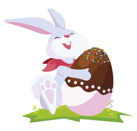 cute rabbit easter with egg painted in the camp vector illustration design Ilustração