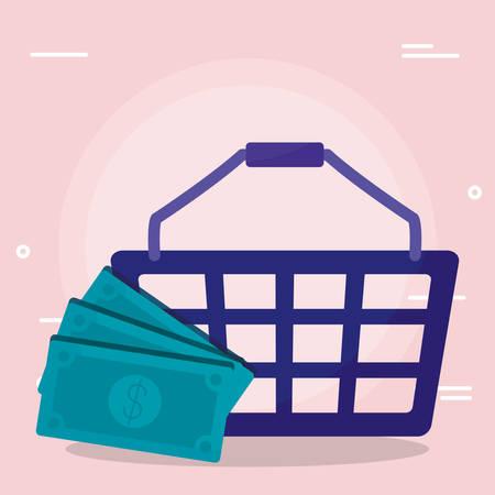 shopping basket with bills dollars vector illustration design Stock Vector - 130084659