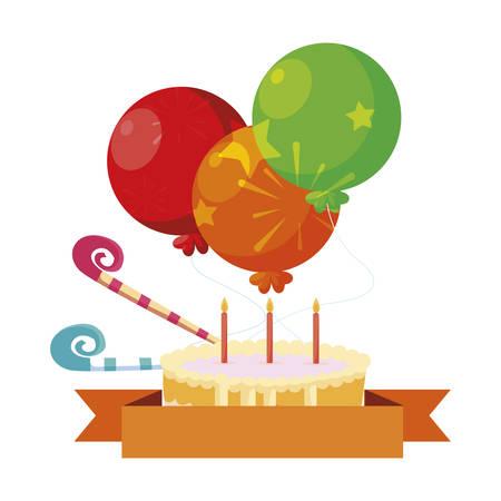 sweet cake birthday with balloons helium vector illustration design Archivio Fotografico - 130134852