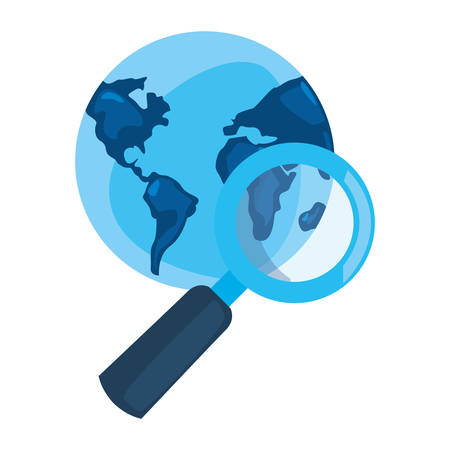 world magnifier analysis  cyber security vector illustration