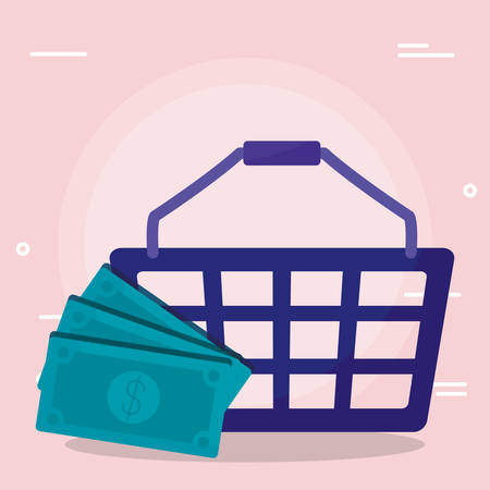 shopping basket with bills dollars vector illustration design