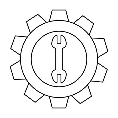 wrench steel gear tool vector illustration design Illusztráció