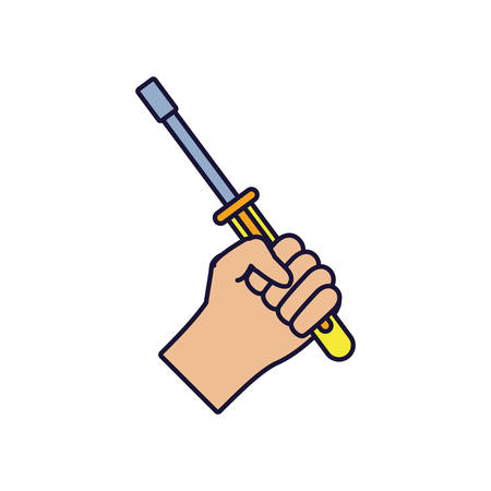 hand with screwdriver tool isolated icon vector illustration design Illusztráció