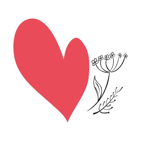 love romantic heart flower vector illustration design Иллюстрация