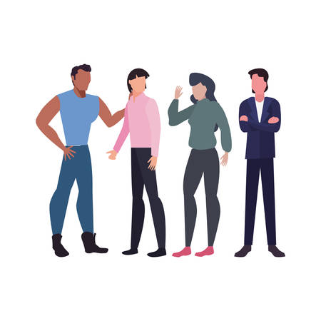 group men and women characters team work vector illustration