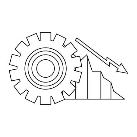 decrease diagram gear business report vector illustration