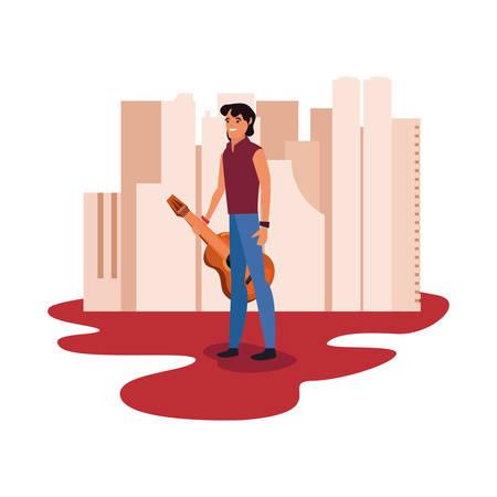 musician profession labour day vector illustration design