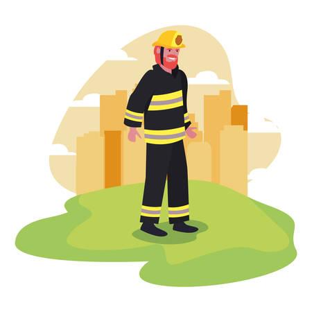 fireman city street labour day vector illustration