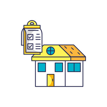 house facade with checklist clipboard vector illustration design