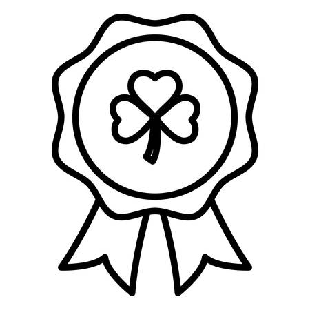 medal with st patrick clover leaf vector illustration design Ilustrace